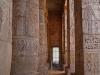 Painted hieroglyphs on columns, peristyle hall, Medinet Habu temple